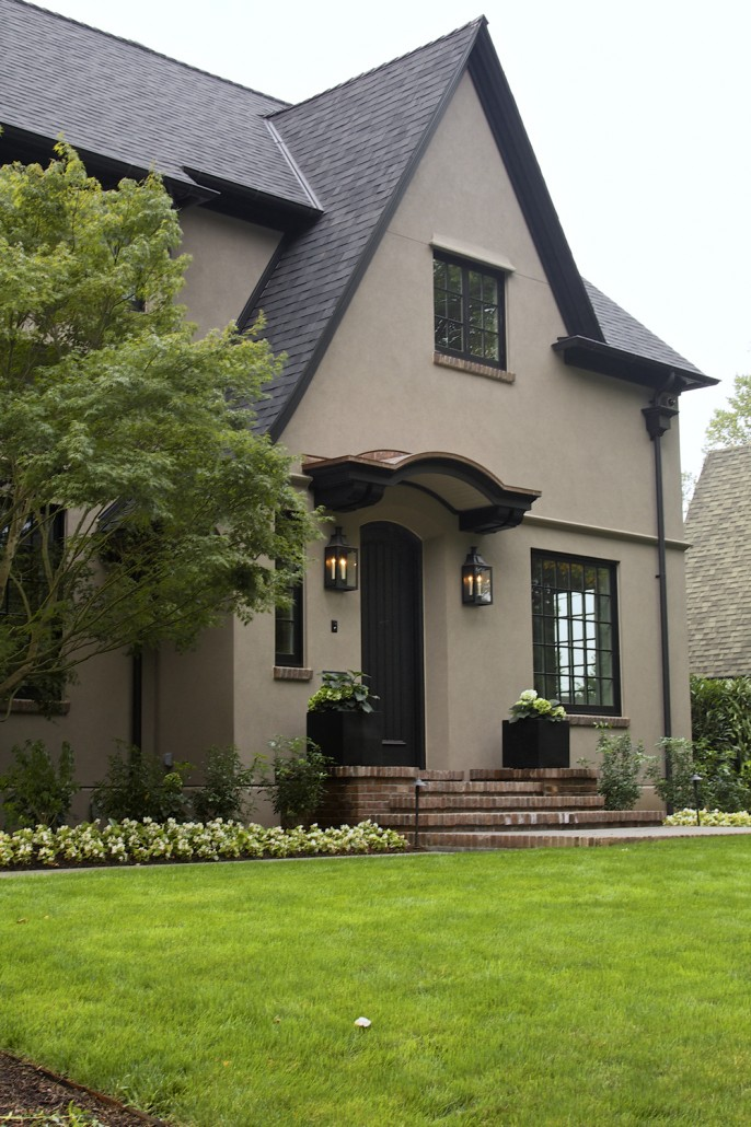 Tudor revival home cella architecture residential architect portland oregon Benjamin moore taupe exterior