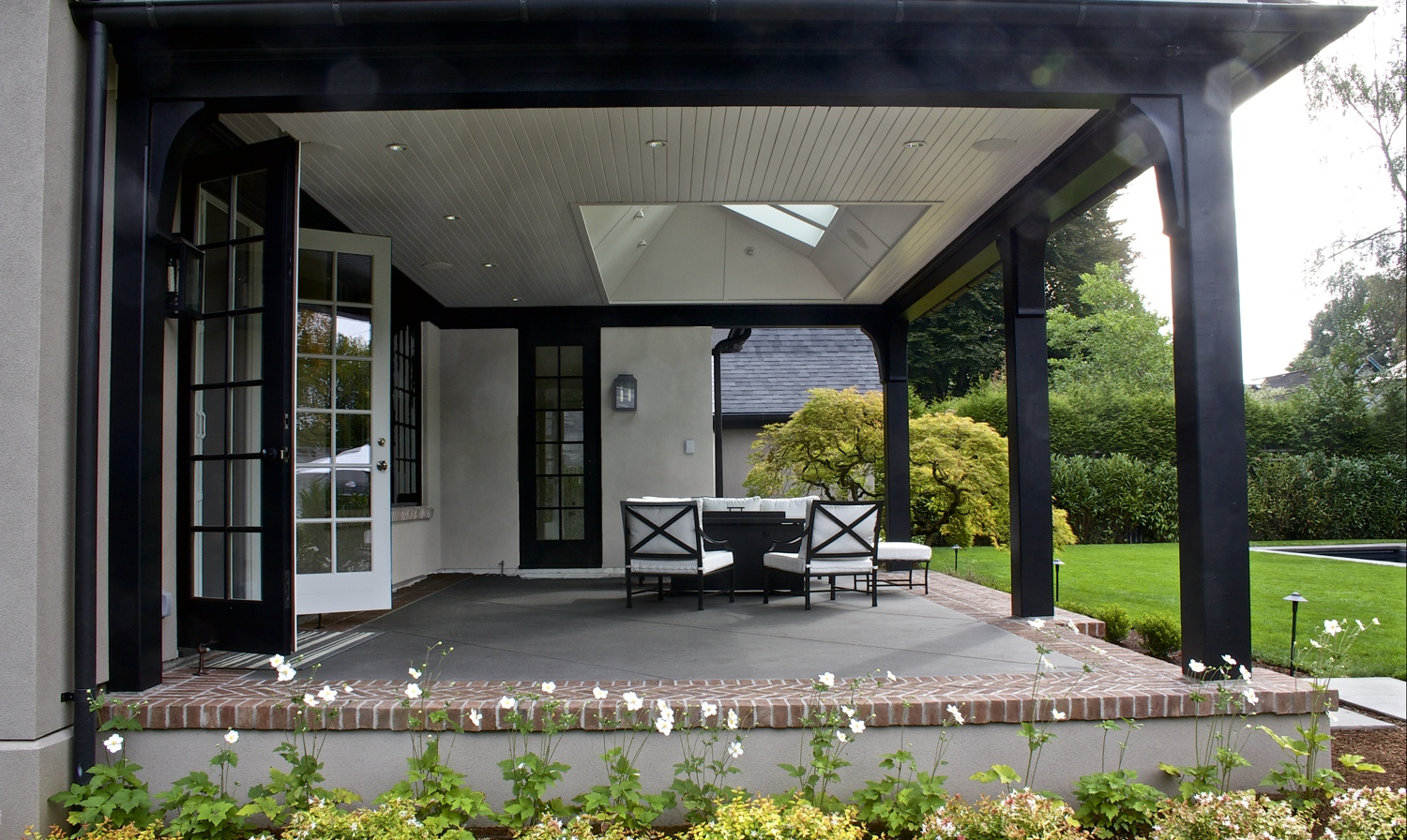 Cella Architecture, Residential Architect Portland Oregon - Covered porch with skylights