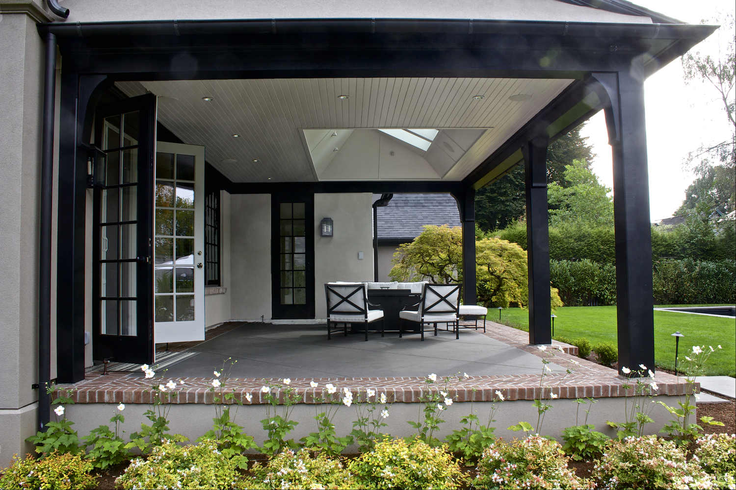 Laurelhurst House covered patio showing large skylight well - Cella Architecture Residential Architect, Portland Oregon