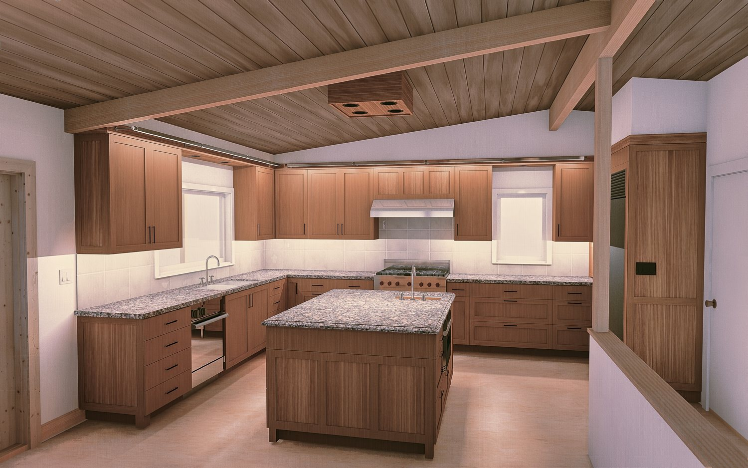 Architectural rendering for a remodeled kitchen in Multnomah Village, Portland Oregon - Cella Architecture