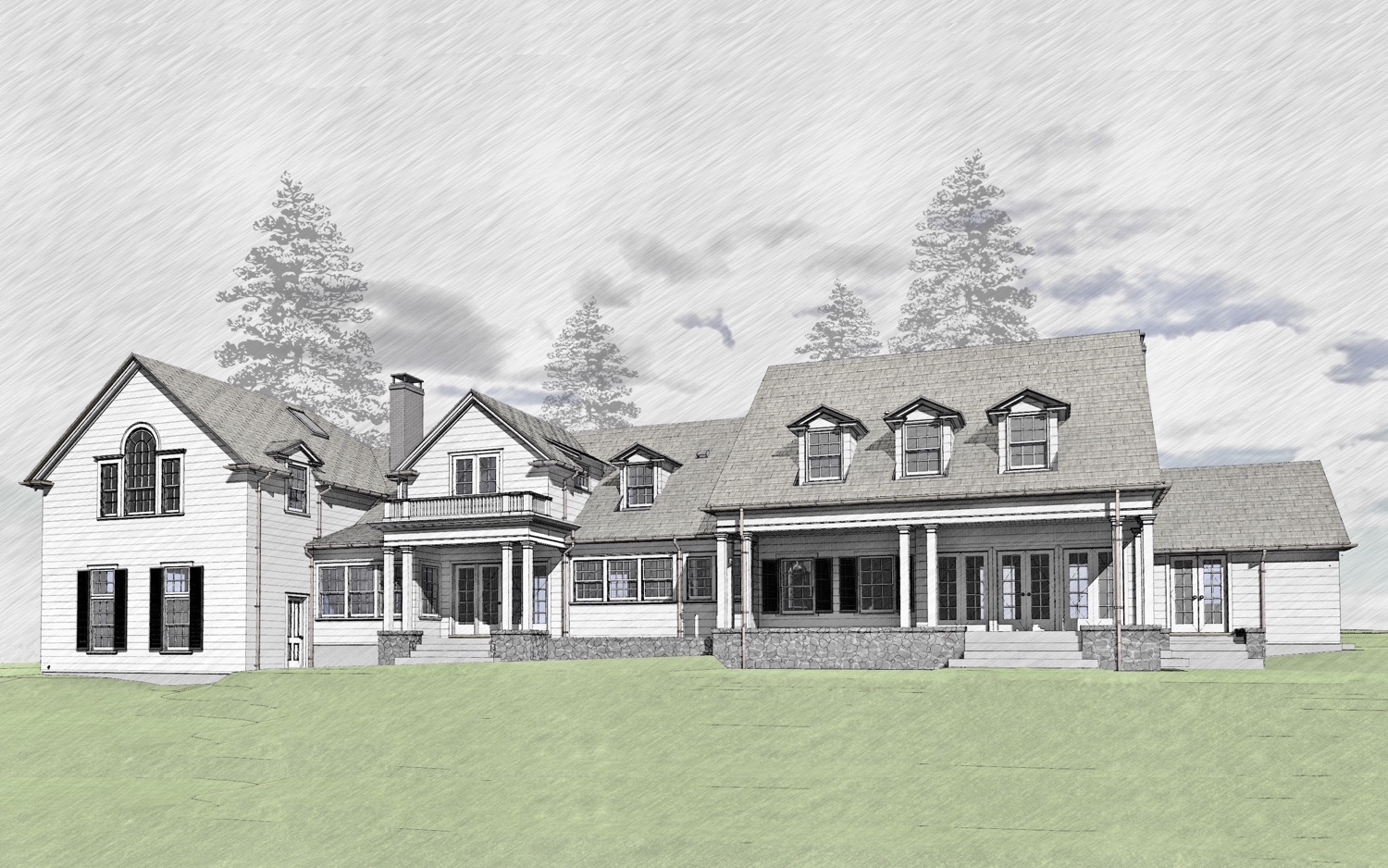 Architectural rendering for a renovation of a colonial revival home in Washington County, Oregon by Cella Architecture