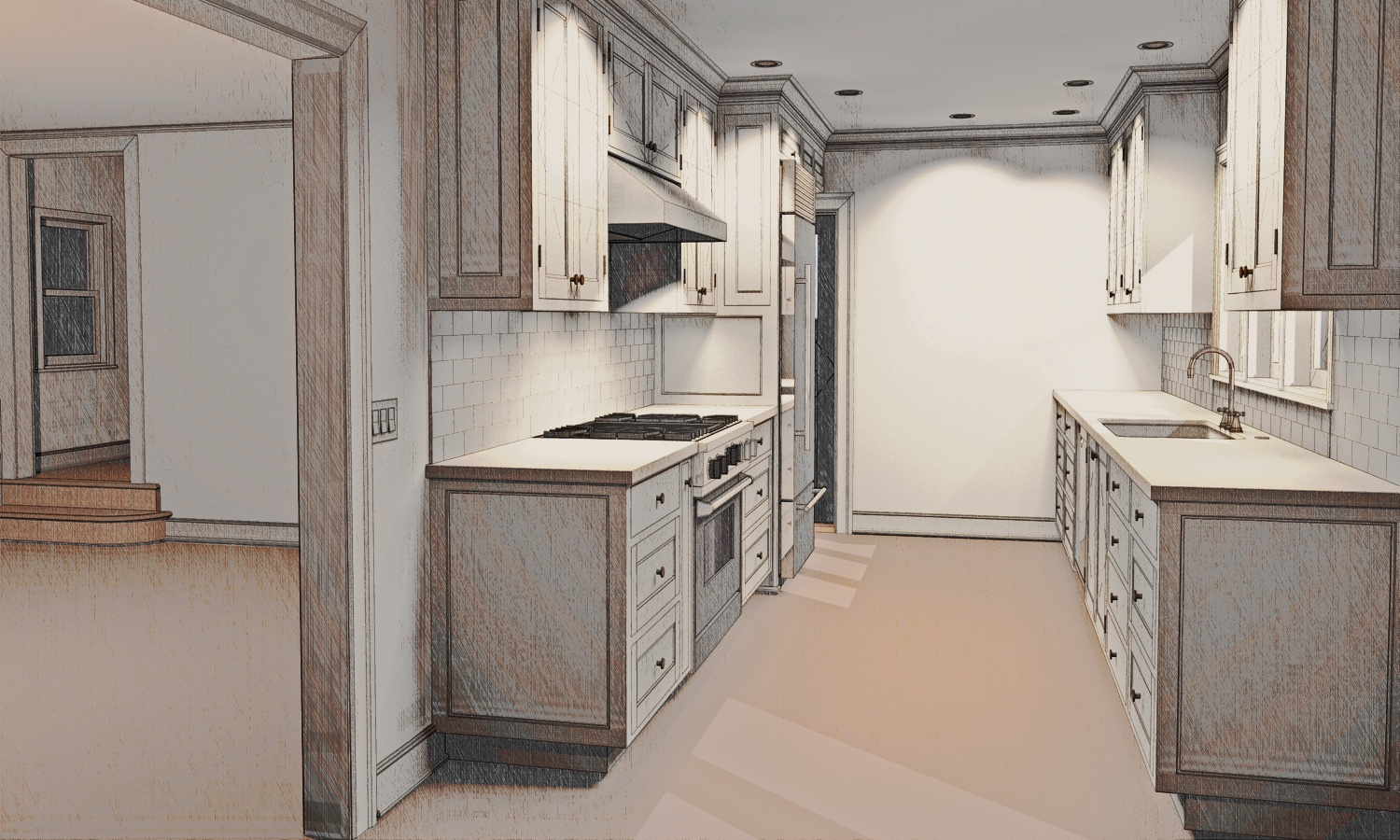 Architectural rendering for a Kitchen Remodel in Portland's SW Hills neighborhood, by Cella Architecture
